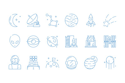 Space line icon. Moon astronomy station rocket astronaut alien stars v