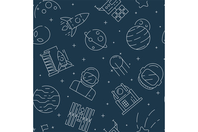 Space seamless pattern. Futuristic universe background with astronaut