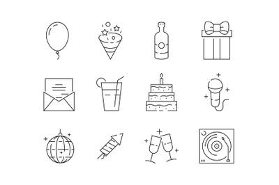 Party thin icons. Event celebration birthday fun entertainment party b