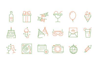Party celebration icons. Fun events birthday games symbols fireworks f