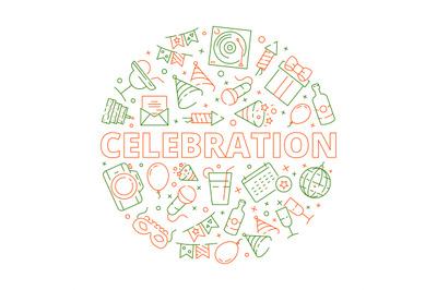 Party icon. Event birthday celebration symbols in circle shape firewor