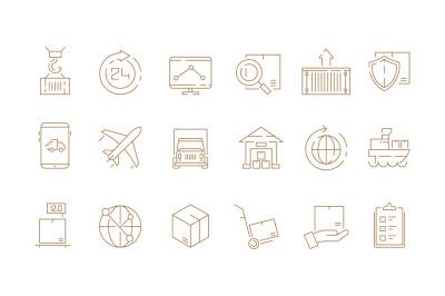 Logistic thin symbols. Delivering boxes and transport van free shipmen