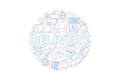 Logistic supplies. Delivery service items binding in circle shape pack