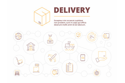 Logistic background. Delivery service items package transport warehous