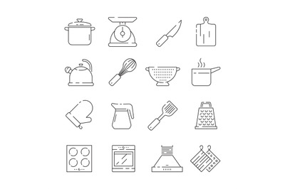 Cooking items icon. Kitchen appliances scoop pan spoons and forks plat