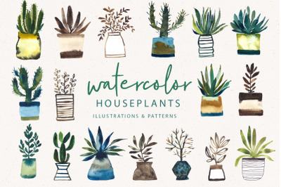 Watercolor Houseplant Collection