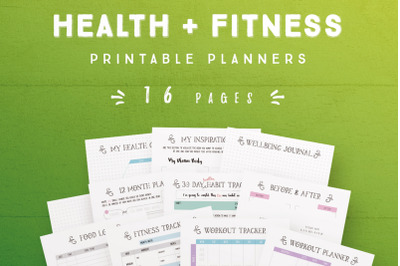 Health and Fitness Printable Planners [16 Pages]
