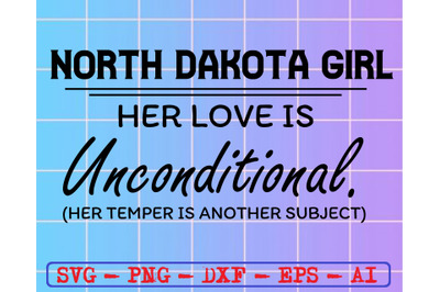 North dakota girl svg, dxf,eps,png, Digital Download
