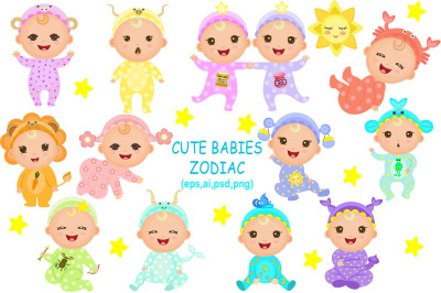 Cute Babies Zodiac Set