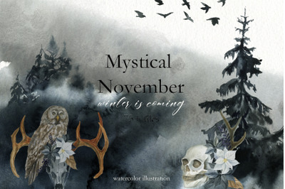 Mystical November. Watercolor set