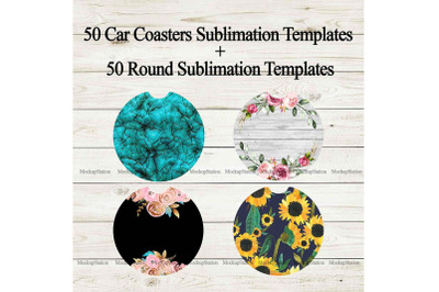 50 Car Coaster Sublimation Template Bundle, Round Key Chain Design