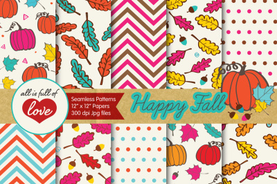 Autumn Digital Papers Fall Background Patterns