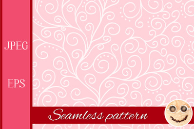 White liana on the pale pink seamless pattern.
