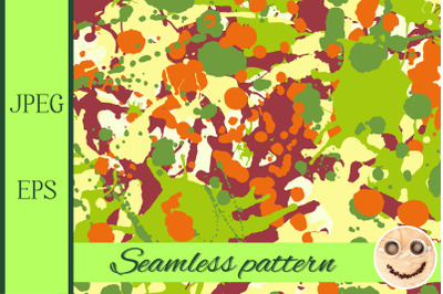 Maroon orange yellow green ink paint splashes seamless pattern.