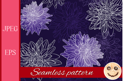 Watercolor and outline dahlia flowers pattern.