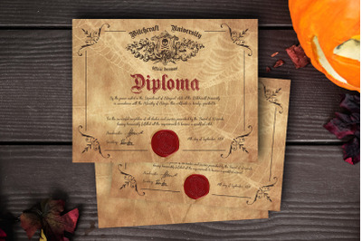 Witch/ Wizard Diploma - Printable Halloween Certificates
