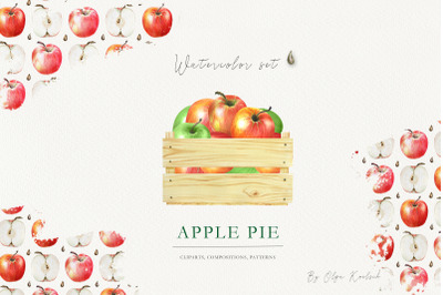 Watercolor Apples and Pears Set