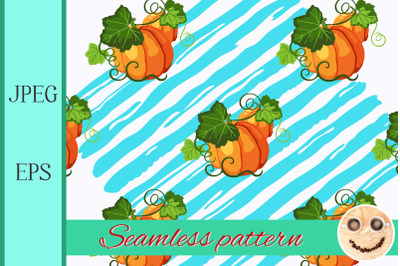 Seamless pattern with pumpkin, blue paint stripe on the white.