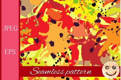 Red orange maroon ink paint splashes seamless pattern.