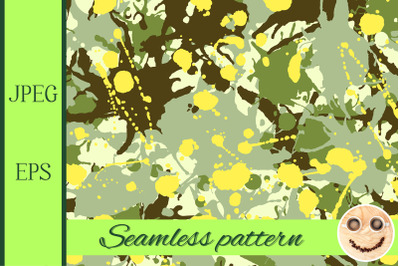 Green shades, yellow, beige camouflage ink paint splashes seamless pat
