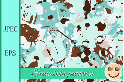 Turquoise brown beige shades ink paint splashes seamless pattern.