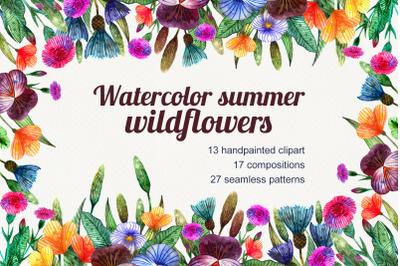 Watercolor set of summer wildflowers