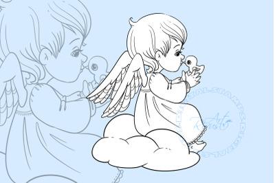 Angel Digital stamp - Cute Christmas Digi stamp download Coloring page