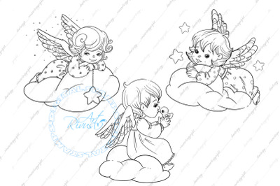 Angel Digital stamp - Cute Christmas Digi stamp download Coloring page