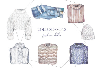 Trendy watercolor winter and autumn clothes set