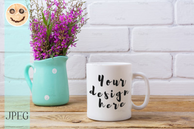 White coffee mug mockup with maroon purple flowers in mint pitcher