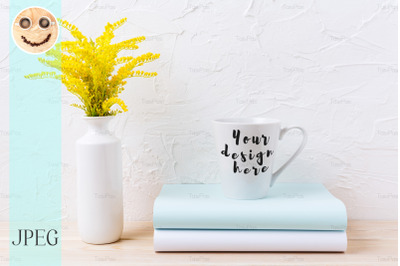 White coffee latte mug mockup with ornamental yellow grass