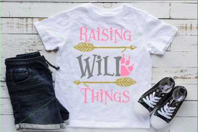 Raising Wild Things SVG Paw Arrow Stay baby onesie 1529s