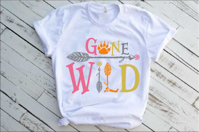 Gone Wild SVG Bear Paw Arrow Stay One Birthday baby onesie 1534s