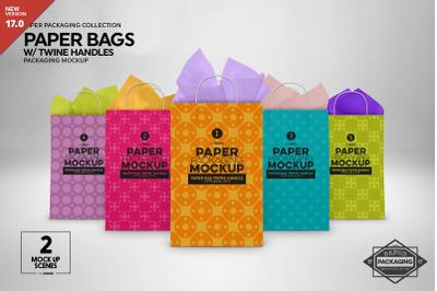 Paper Bags Twine Handles Mockup