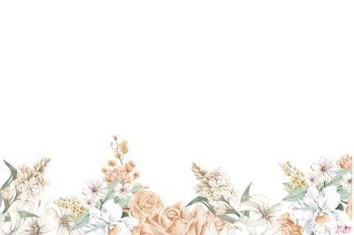 PNG Watercolor Rose Digital Paper