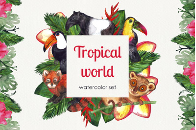 Watercolor tropical world