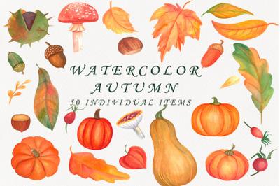 Watercolor autumn Clipart