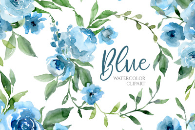 Blue Watercolor Flowers and Green Leaves
