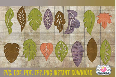 SVG, DXF, PDF, PNG, and EPS Leaf Shape Earring Template Bundle