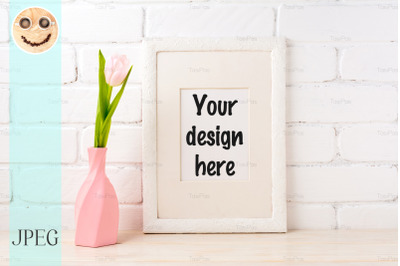 White frame mockup with pink tulip in swirled vase