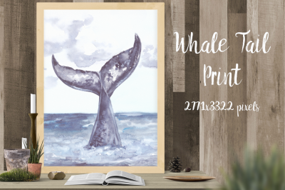 Whale's Tail Watercolor Illustration