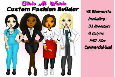 Girls At Work Cusotmizable Clipart Fashion  Builder