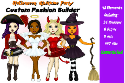 Halloween Costume Girls Clipart Customizable Character Builder