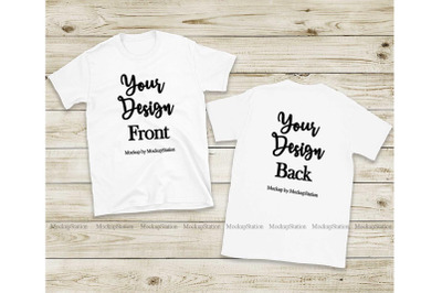 Front & Back White Tshirt Mockup, Gildan 64000 Shirt Mock Up