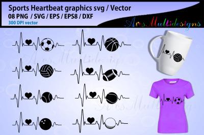 Sports ball heartbeat svg bundle / football heartbeat / baseball heart