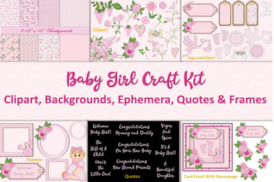 New Baby Girl Clipart and Backgrounds Bundle
