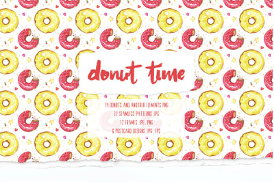 Donut time Watercolor seamless patterns and illustrations