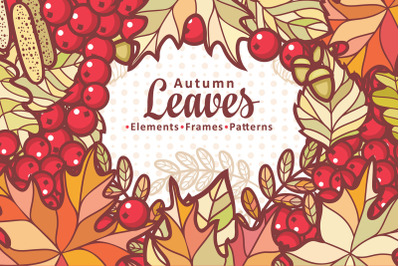 Autumn leaves. Cute cartoon elements, borders, frames,patterns. Bundle
