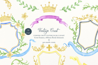 Watercolor Vintage Style Crest Collection