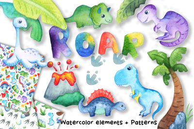 Watercolor Dinosaurs Clipart And Seamless Patterns